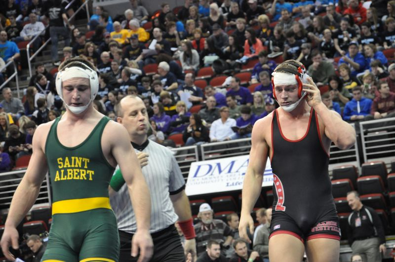 State Wrestling Day 1 Jake Lewis scores a takedown in the final seconds to beat Taylor James