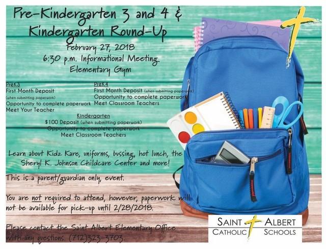 2018 St Albert PreK and Kindergarten Round Up