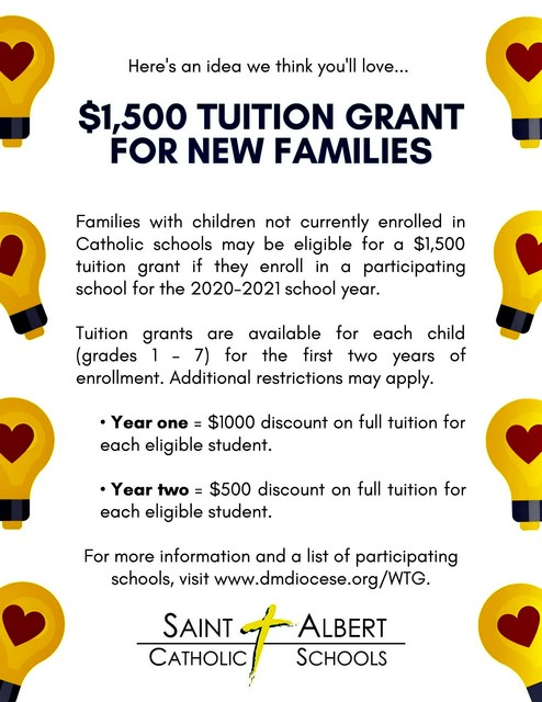 2020 2021 Des Moines Diocese Catholic Schools Tuition Grant