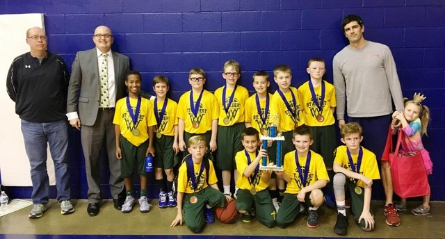 2018 SA 4th grade Holy Ghost Tourney Champions and St. Bernadette Finalists; Front (L-R): Chase Stidham, Mack Daley, Ben Krohn & Kellen Poole. Back (L-R): Coach Jason Smith, Coach Joe Narmi, Bode Simms, Tanner Estell, Cohen Hamilton, Noah Narmi, McCoy Daley, Brady Smith, Cain Hughes, Coach Jay Simms and Manager Nora Simms.