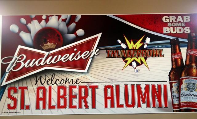 Alumni Bowling Sign