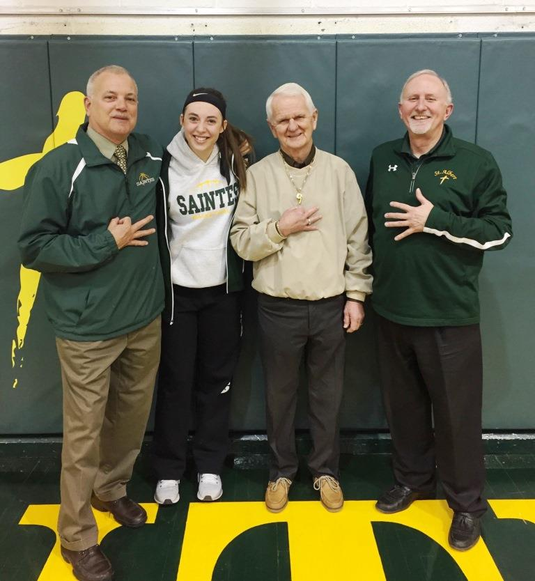 Saintes Scoring Queen, Bailey White, with Coach Wettengel, Coach White and Coach Heithoff 1.4.18