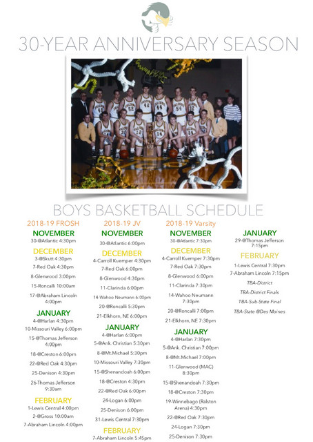 2018-2019 SA Falcon Basketball Schedule