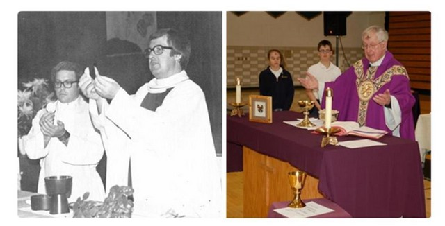 Father Monahan then and now