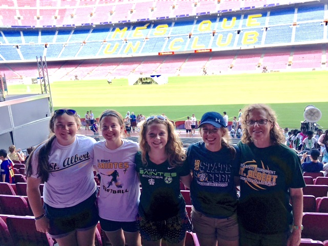 SA Spanish Students Emily Casson, Addie Bardon, Mikayla Klusman, Baylee Ratliff and Senora Gwen Fisher at Camp Nou Stadium in Barcelona, Spain - July 2017