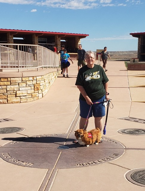 Virgie Oatman and her dog, Missy at The Four Corners of Arizona, Colorado, Utah and New Mexico - Summer 2019