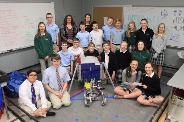 2019 Alumni & Friends delivers check to SA Robotics