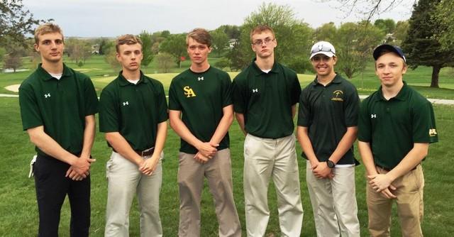 2016 Falcon Golf (L-R): Sophomore Joe Liston, Junior Caleb Schnider, Senior Erik Jensen, Freshman Jared Gast, Sophomore Allen Powers-Wettestad & Senior Rhyan Klabunde
