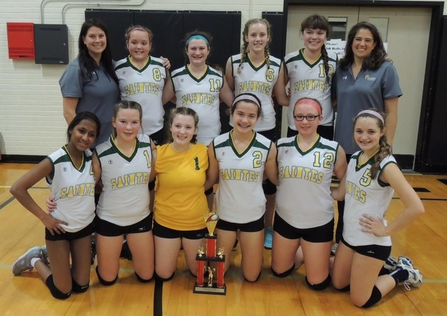 2016 8th Grade Saintes PAL AA Regular Season & Post-Season Volleyball Champs:Back row (L-R): Coach Lindsey Oltmans, Rory Trager, Kaity Punteney, Julia Peterson, Lauren Pattermann & Coach Teri Miller.Asha Goldsworth, Sarah Eggerling, Gabby Brownfield, Alli Petry, Anna Schewe & Maddie Estell.Not pictured:  Riley Noel