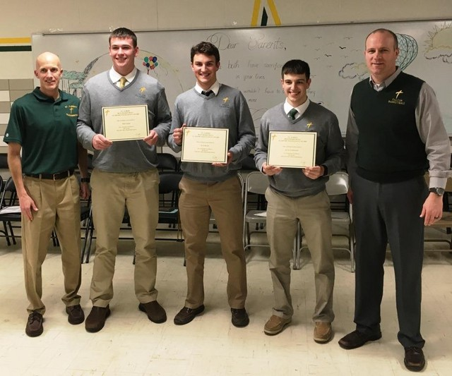 2017 Falcon Basketball Banquet Academic Awards Winners for 4.0 GPA (L-R): Matt Fagan, Kyle Barnes and Kevin Armbruster.